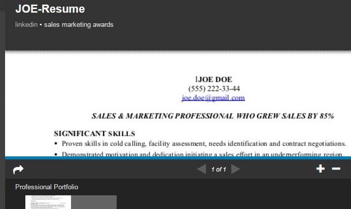 when we view those profiles we see previews of the resumes or other uploaded documents which look like this